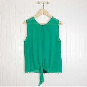 Petticoat alley green sleeveless blouse L
